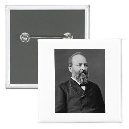 Vigésimo presidente de James Garfield Pin Cuadrada 5 Cm