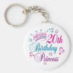 vigésimo Princesa del cumpleaños Llaveros