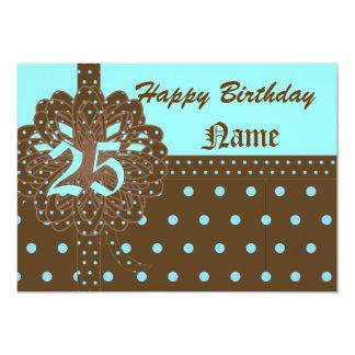 """Vigésimo quinto regalo de cumpleaños feliz invitación 5"""" x 7"""""""