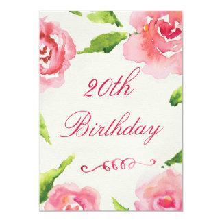 vigésimo Rosas elegantes de la acuarela del Invitación 12,7 X 17,8 Cm