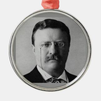 Vigésimo sexto presidente de Theodore Roosevelt Adorno Navideño Redondo De Metal