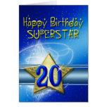 vigésimo Tarjeta de cumpleaños para la superestrel