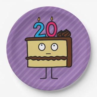 vigésimo Torta de cumpleaños con las velas Platos De Papel