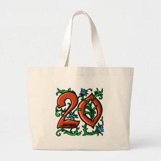Vigésimos regalos de cumpleaños florales bolsa tela grande