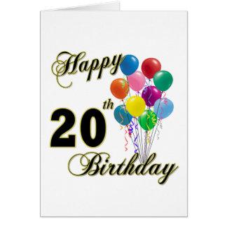 Vigésimos regalos de cumpleaños y ropa felices del tarjeta de felicitación