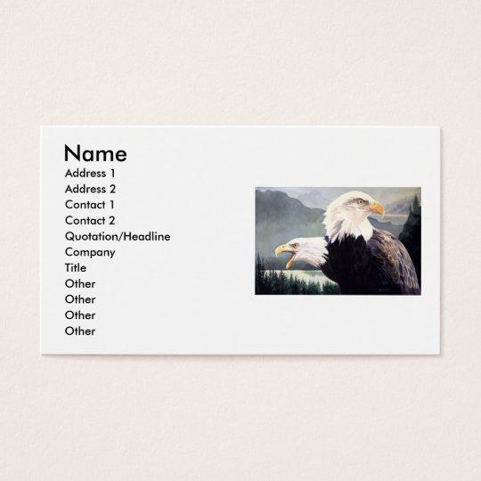 """Vigilance"" Bald Eagle Pair Watercolor Business Card"