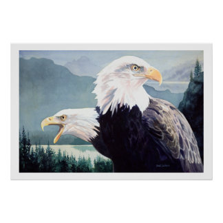 """Vigilance"" Bald Eagle Pair Watercolor Poster"