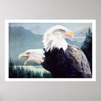 """Vigilance"" Bald Eagle Pair Watercolor Print"