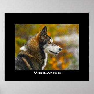 VIGILANCE Grey Wolf Art Poster