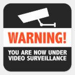 Vigilancia de la cámara de vídeo calcomania cuadrada personalizada