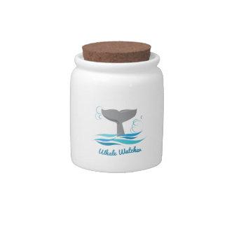 Vigilante de la ballena jarras para caramelos