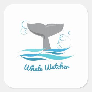 Vigilante de la ballena calcomania cuadradas personalizada