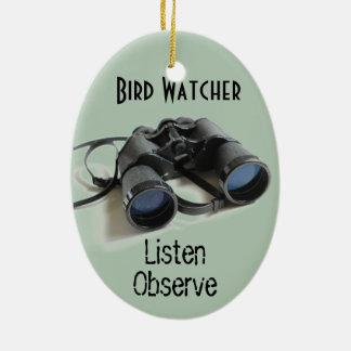 Vigilante de pájaro adorno navideño ovalado de cerámica