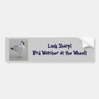 Vigilante de pájaro en la rueda - pegatina para el etiqueta de parachoque