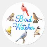 Vigilante de pájaro etiqueta redonda