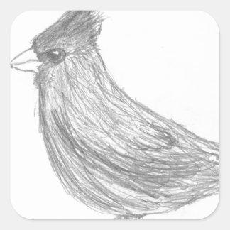 Vigilante de pájaro colcomanias cuadradas personalizadas
