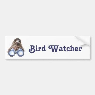 Vigilante de pájaro que le mira acuarela animal de pegatina de parachoque