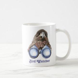 Vigilante de pájaro que le mira acuarela animal de taza de café