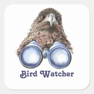 Vigilante de pájaro que le mira acuarela animal pegatina cuadrada