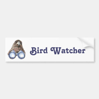 Vigilante de pájaro que le mira acuarela animal pegatina para auto
