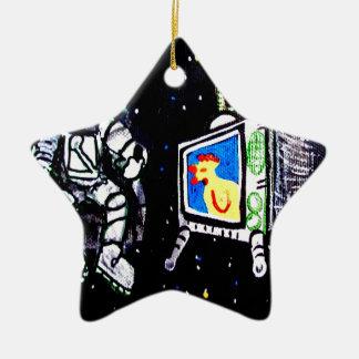 Vigilante del espacio adorno de cerámica en forma de estrella