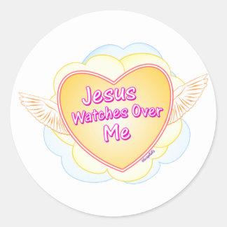 Vigilar de Jesús mí diseño cristiano del regalo Etiquetas Redondas