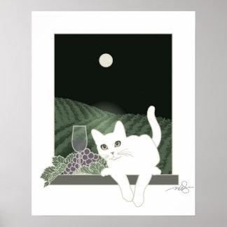 Vigne, Clair de Lune et Chat Blanc Posters
