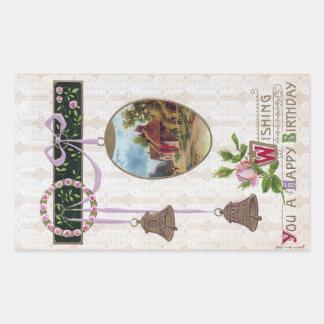 Vignette in Egg Vintage Birthday Rectangular Sticker