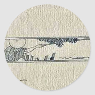 Vignette of a man fishing from the bank of a river sticker
