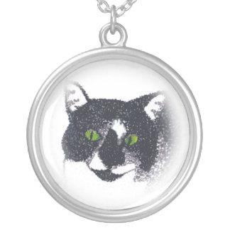 Vignette of Tuxedo Cat Face Necklace