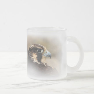 Vignetted Profile of a Peregrine Falcon Frosted Glass Coffee Mug