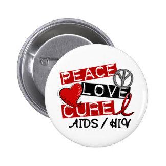 VIH del SIDA de la curación del amor de la paz Pin Redondo De 2 Pulgadas