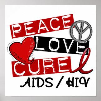 VIH del SIDA de la curación del amor de la paz Póster