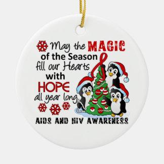 VIH del SIDA de los pingüinos del navidad Adorno Navideño Redondo De Cerámica
