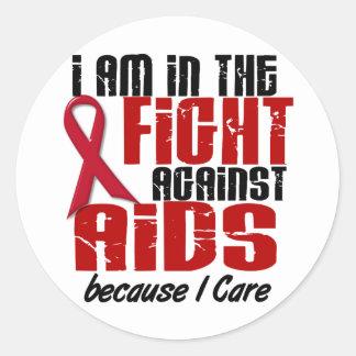 VIH del SIDA en el cuidado de la lucha 1 I Pegatina Redonda
