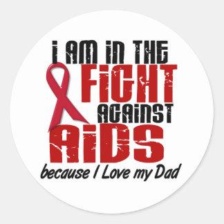 VIH del SIDA en el papá de la lucha 1 Pegatina Redonda