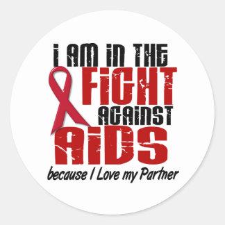 VIH del SIDA en el socio de la lucha 1 Pegatina Redonda