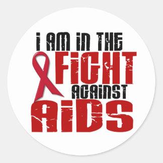 VIH del SIDA en la lucha 1 Etiquetas Redondas