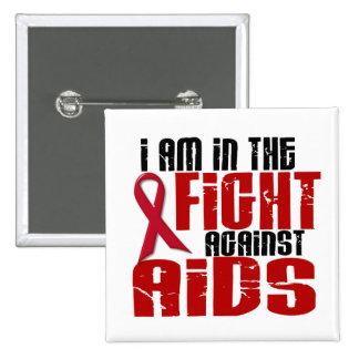 VIH del SIDA en la lucha 1 Pin Cuadrado