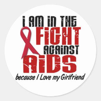 VIH del SIDA en la novia de la lucha 1 Pegatina Redonda