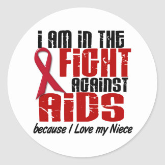 VIH del SIDA en la sobrina de la lucha 1 Pegatina Redonda