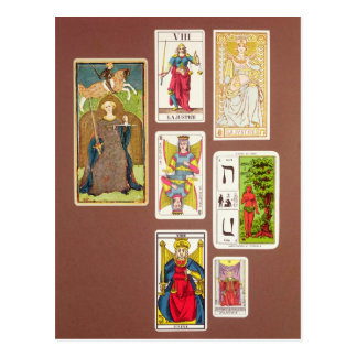 VIII Justice, seven tarot cards Postcard
