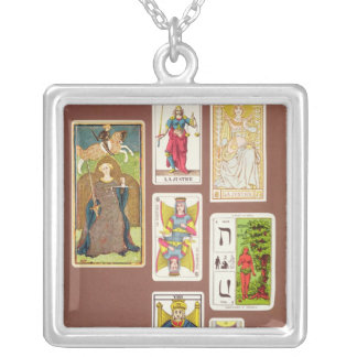 VIII Justice, seven tarot cards Silver Plated Necklace