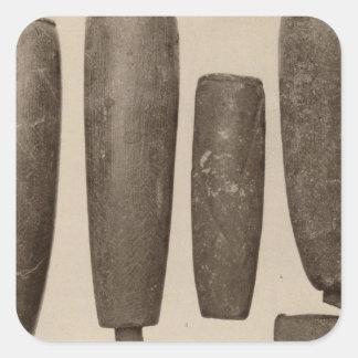 VIII tubos de piedra, tan Calif Pegatina Cuadrada