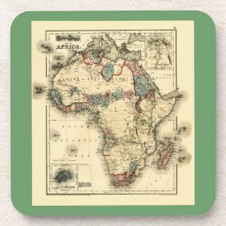 Viintage 1874 Map of Africa  Antique African Print Beverage Coaster