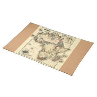 Viintage 1874 Map of Africa  Antique African Print Cloth Placemat