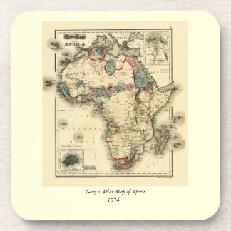 Viintage 1874 Map of Africa  Antique African Print Coaster