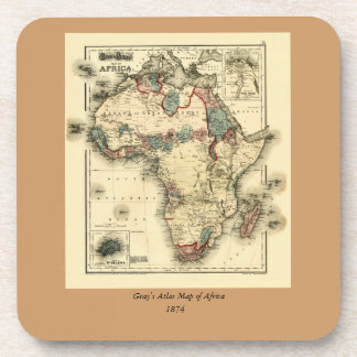 Viintage 1874 Map of Africa  Antique African Print Drink Coaster