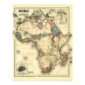 Viintage 1874 Map of Africa  Antique African Print Flyer