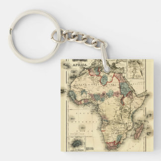 Viintage 1874 Map of Africa  Antique African Print Keychain